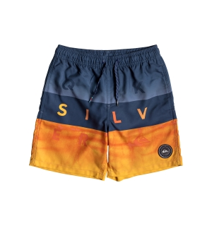 QUIKSILVER WORD BLOCK VOLLEY YOUTH 15 MEDIEVAL BLUE - XS/8år