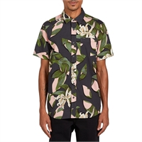 VOLCOM CUT OUT FLORAL S/S DARK CHARCOAL - M